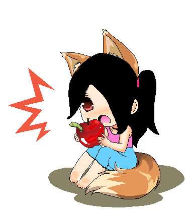 Chibi Eating Apple by Chicken818 on DeviantArt