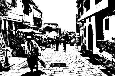 Tunisia cobbled streets - BW