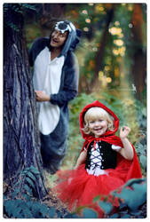 Little Red Riding Hood and gray wolf