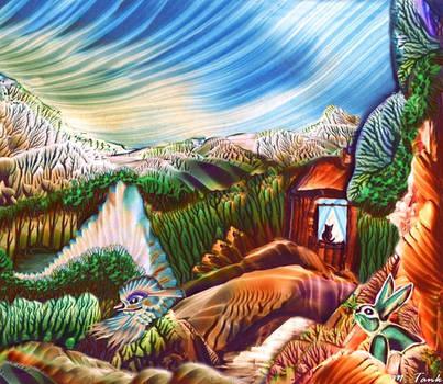 Earthbound Dragon Encaustic by Villa-Chinchilla