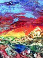 Dramatic Sunset Encaustic by Villa-Chinchilla
