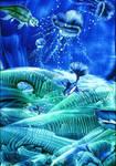 Aquarius Deep Blue Encaustic