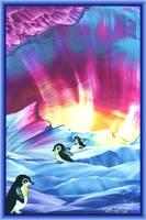 Penguine Parade -Encaustic by Villa-Chinchilla