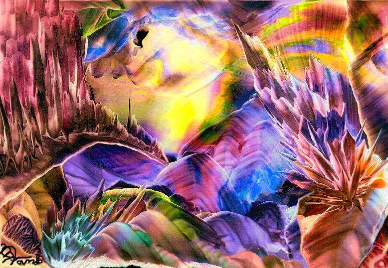 Crystal Flower Encaustic by Villa-Chinchilla