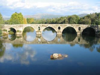 river, bridge, mountains by Shaia