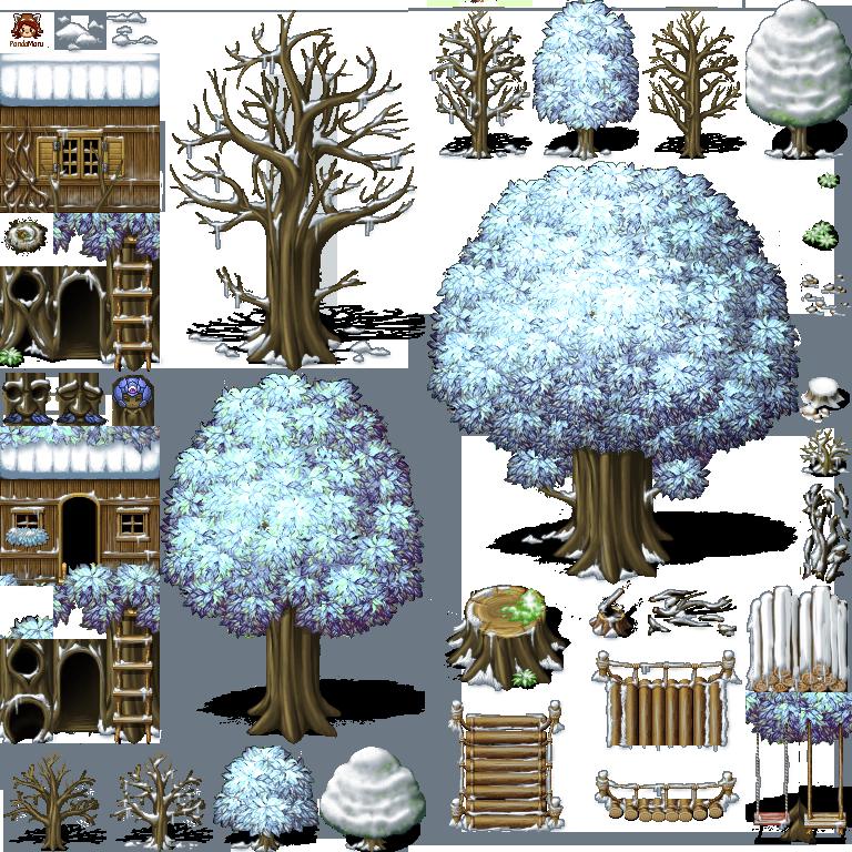 bridge|house|living tree|log|nature|swing|talking tree|tree|winter|wood