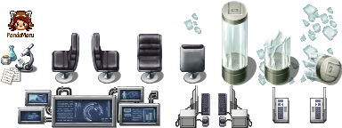 chair|computer|glass|laboratory|microscope|modern|schwarzenacht|sci-fi|screen|side view laptop