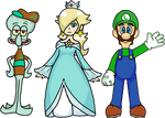 Squidward, Rosalina, and Luigi