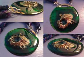 Green algae island necklace by rivenwanderer