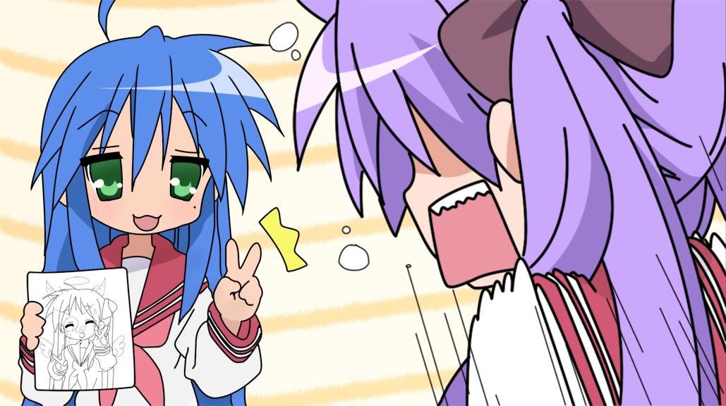 Konata and Kagami by iSnail on DeviantArt