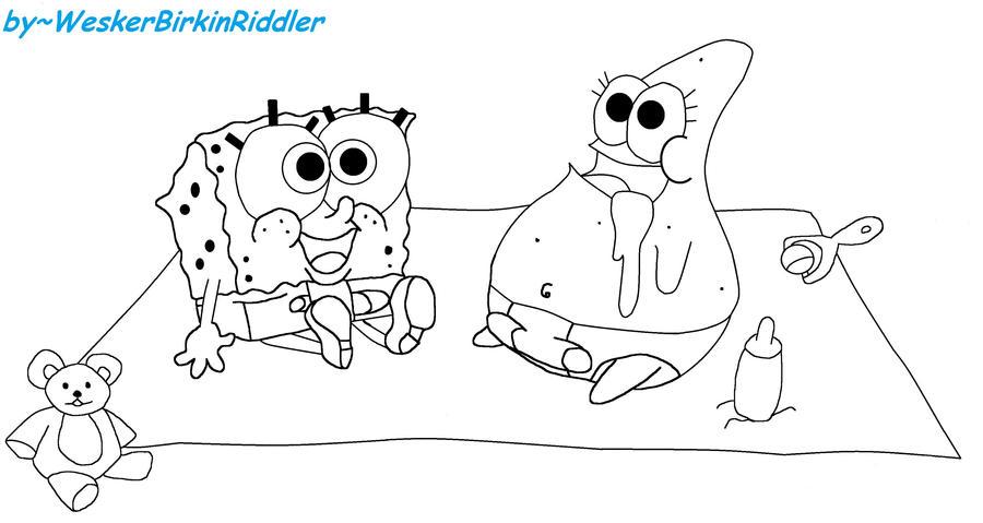 Spongebon and Patrick Baby LineART by WeskerBirkinRiddler ...