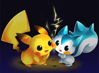 pikachu and pachirisu by SakikoAmana