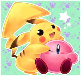 pikachu and kirby by SakikoAmana