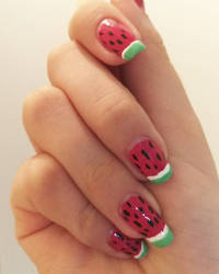 Watermelon Nails!!! by LuvurShit