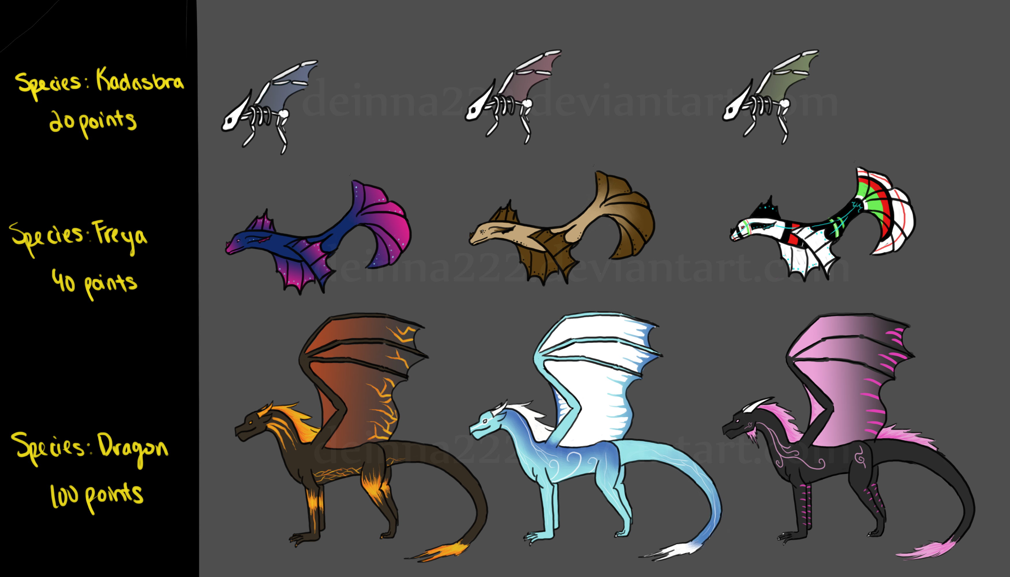 Kadasbra, Freya, and Dragon Adopts - OPEN by meiyue