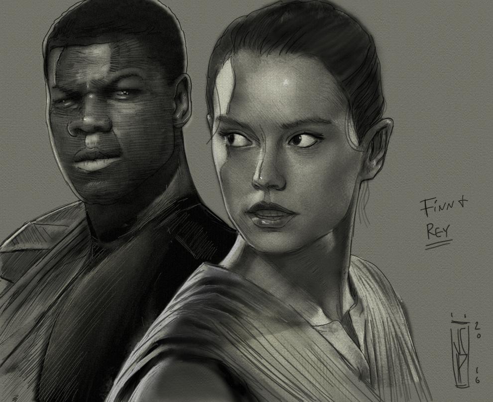 Star Wars: Finn and Rey Pencil by ChrisPendergraft