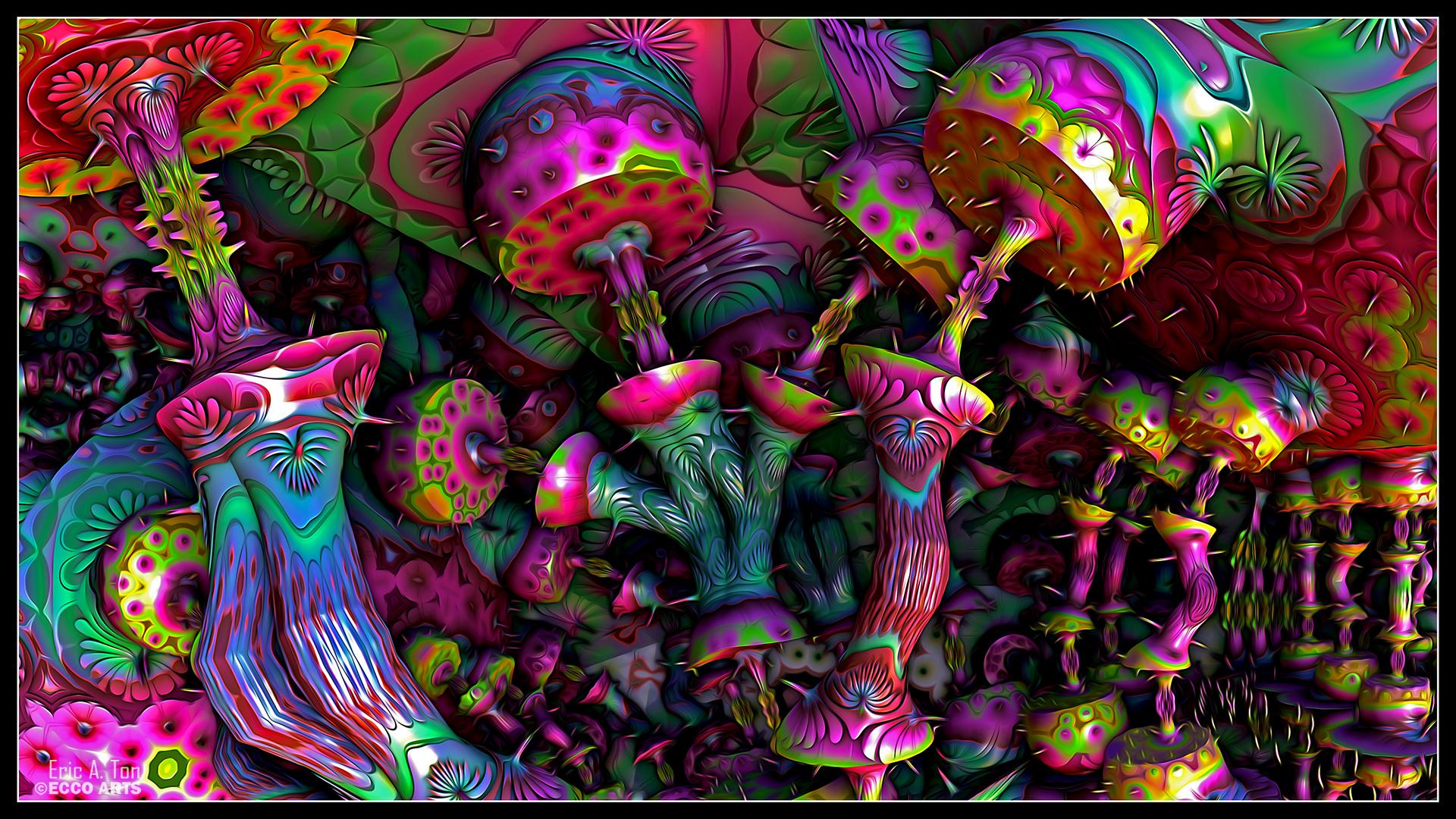 Psychedelic Mushrooms by eccoarts