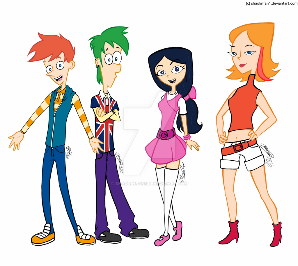 Phineas And Ferb In High School (Redrawn/Colored) By