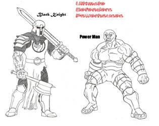 Black Knight and Powerman by Kagehiisa