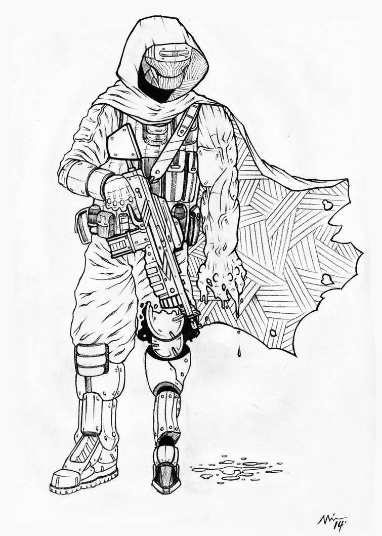 destiny 2 coloring pages | Destiny Hunter Drawing Sketch Coloring Page