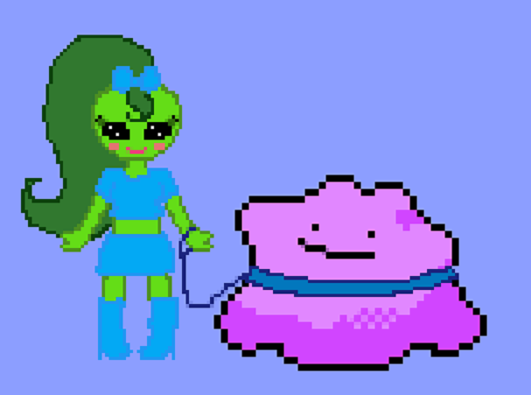 Alien girl and her pet ditto by purplelion12