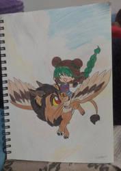 girl riding beast