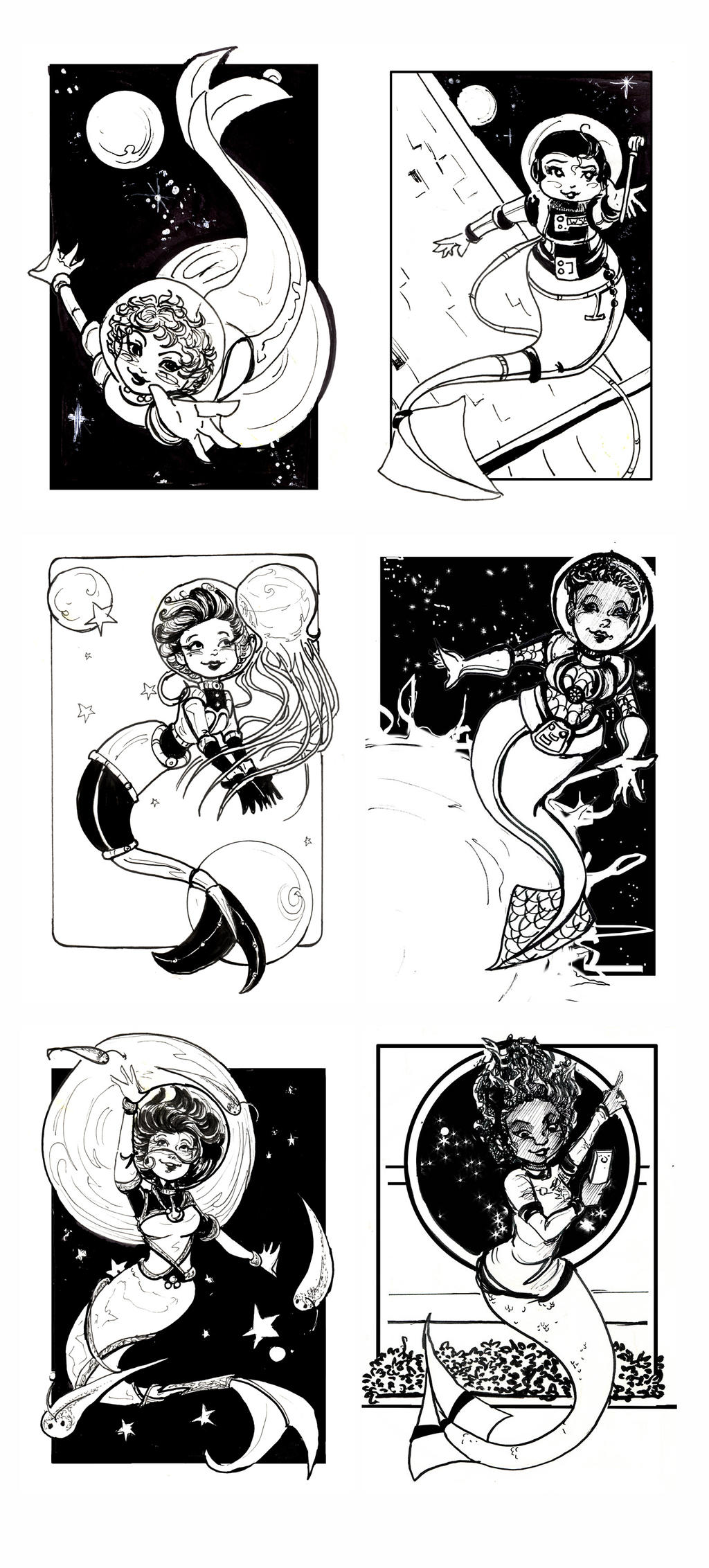 Space Mermaids 2016 by GalacticDustBunnies