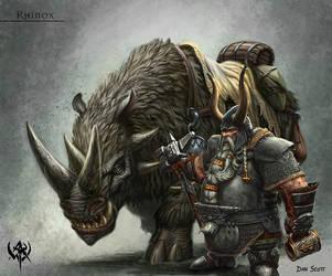 dwarf rhinox by gilanthegrey