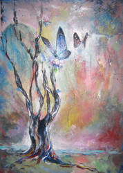 Tree and Butterflies by bclifford
