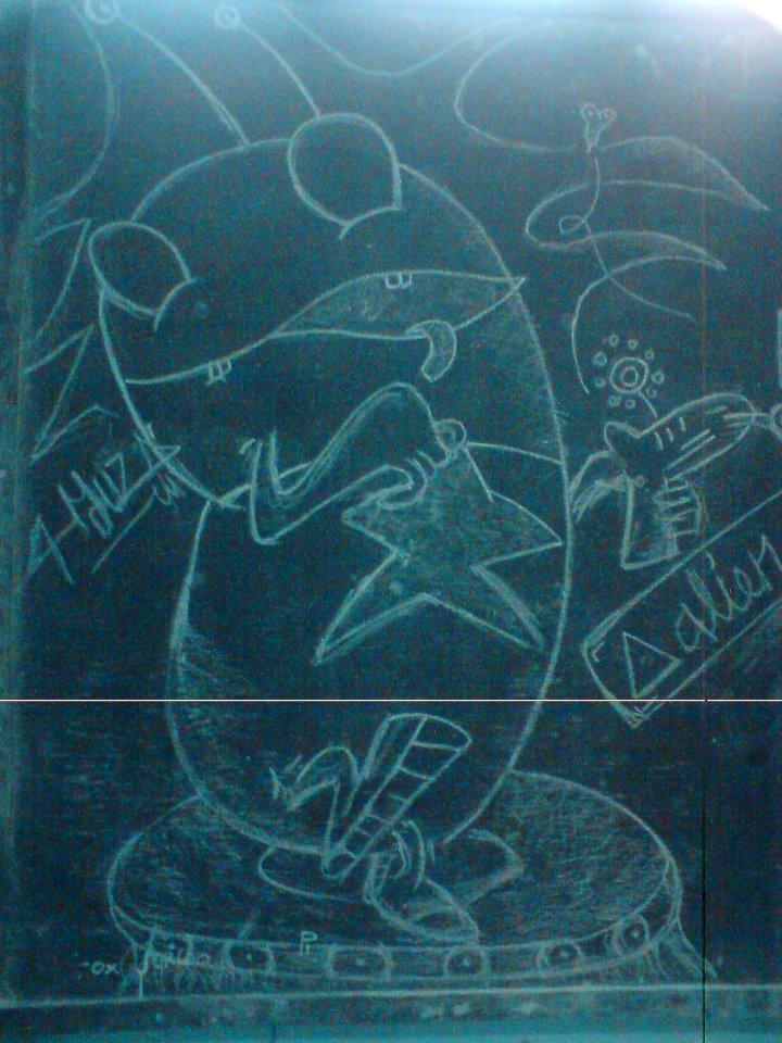 Alien Monster on Black Board school by YusufSetyoko