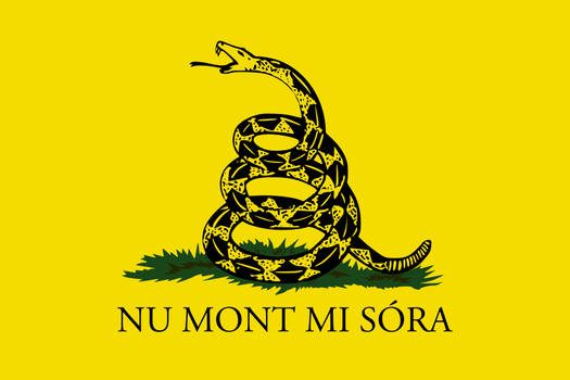 Gadsden flag - Sammarinese Romagnol text