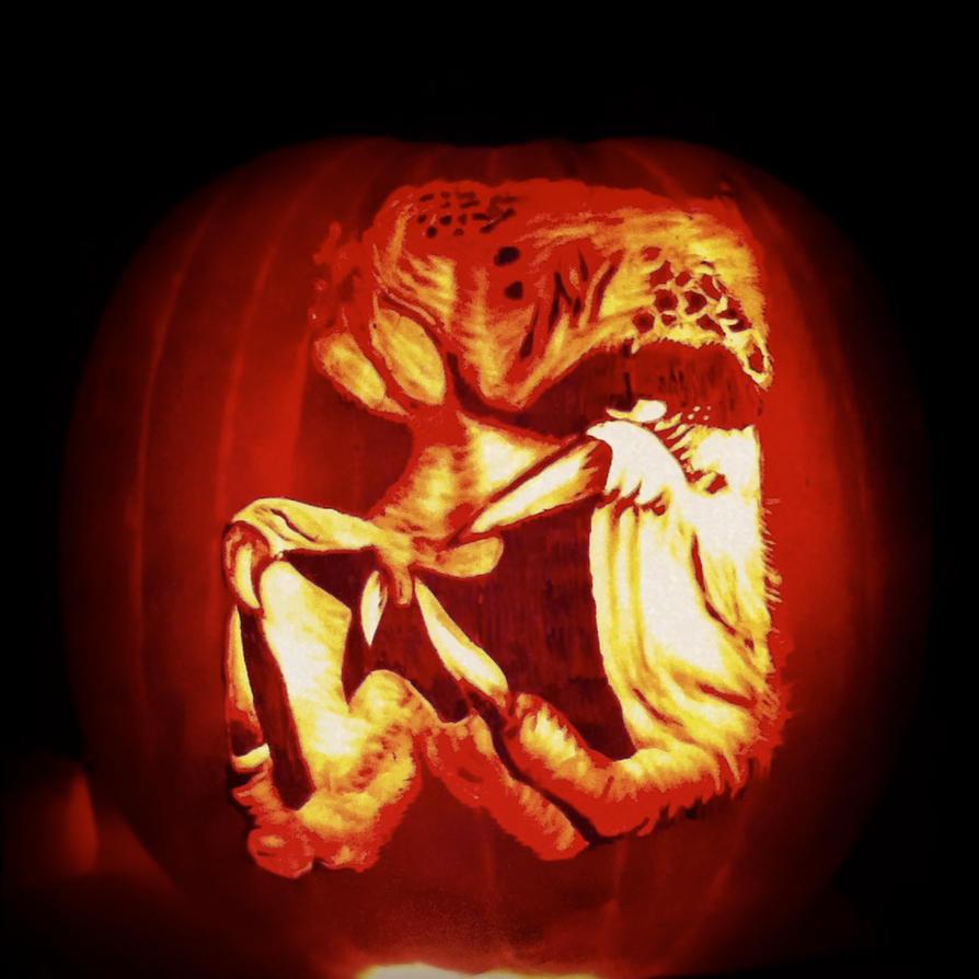 The predator pumpkin by alfredparedes on deviantart - Excellent halloween decoration using badass pumpkin carving stencil ...