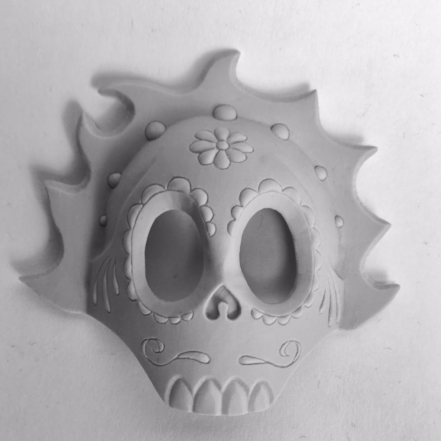 Day of the Dead mask - unpainted half mask by AlfredParedes