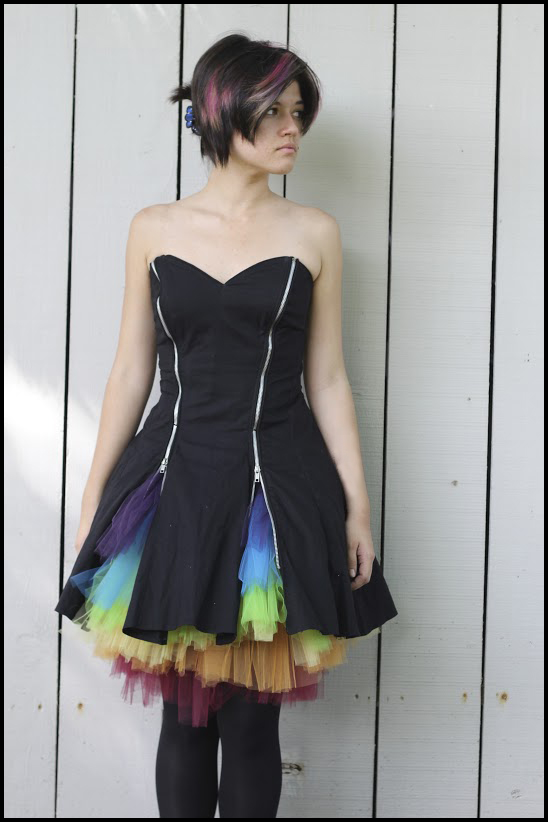 Rainbow Tulle Short Prom Dress