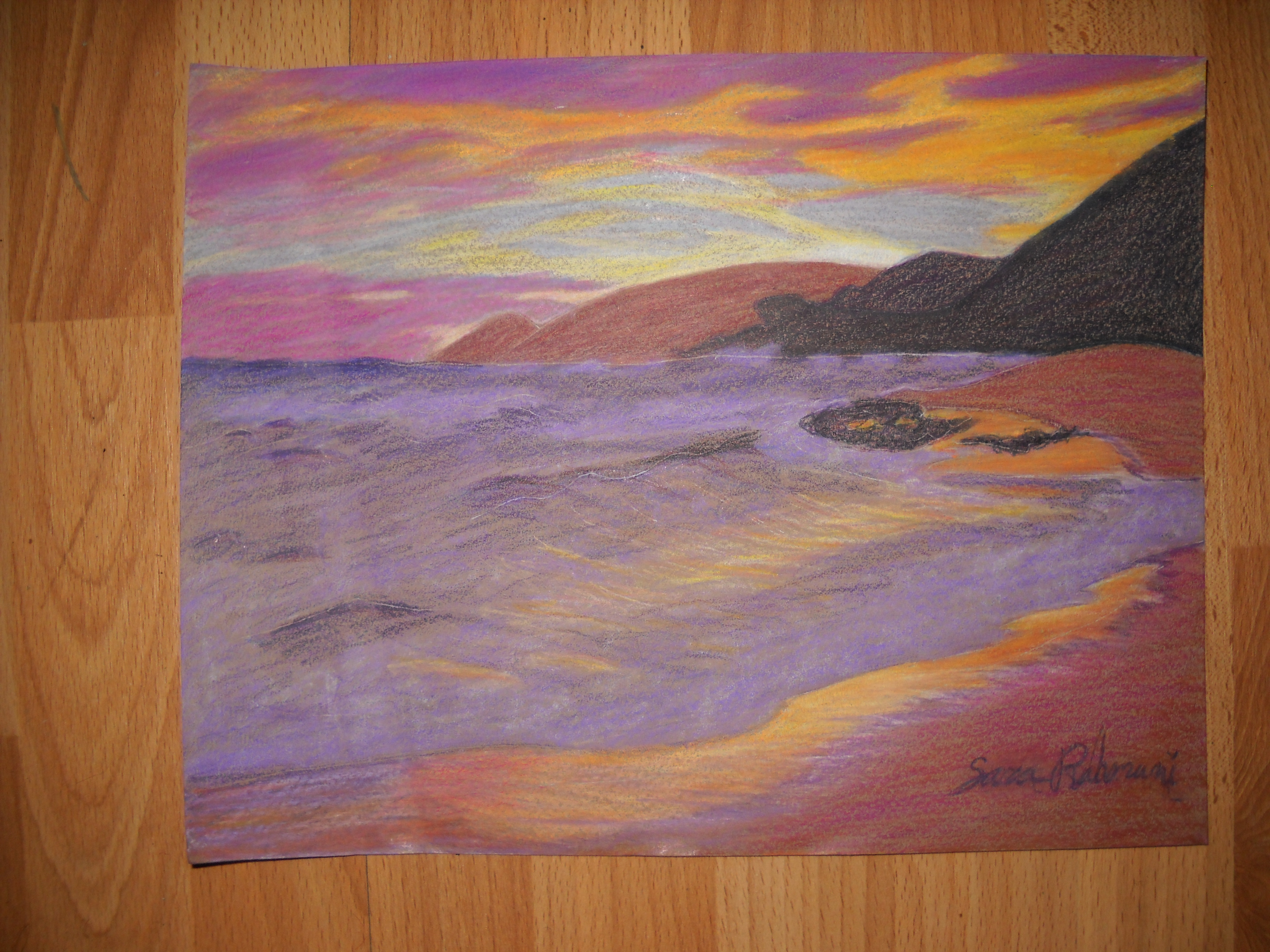 Colored pencil Sunset Beach by duct-tape-pirate on DeviantArt