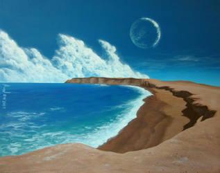 Terraformed lunar beach by Axel-Astro-Art
