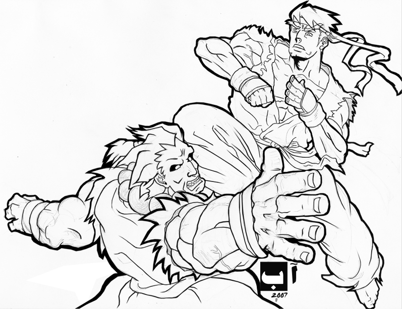 Ryu vs ken free coloring pages for Ryu coloring pages