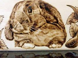 Pyrography - Rabbit Box Detail Rabbit by Kelvin-Simmonds-Pyro