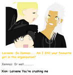 Larxene with Xion and Xemnas