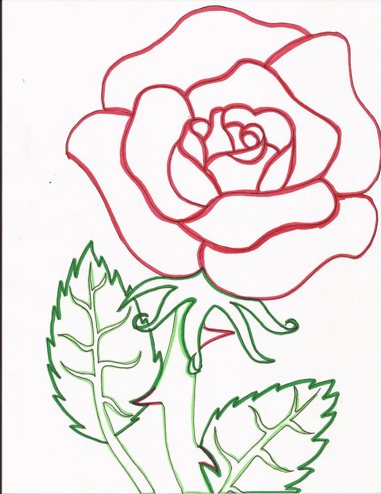 Rose Line Drawing Easy : Red rose line art by day week on deviantart