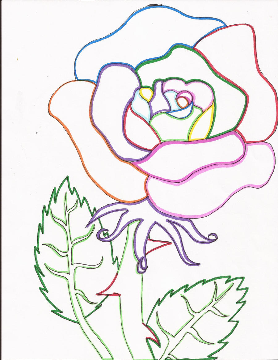 Line Drawing Rainbow : Rainbow rose line art by day week on deviantart