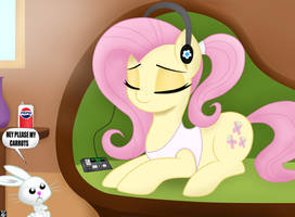 Fluttershy Listening Music At HomeFl by TheRETROart88