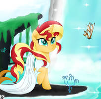 sunset shimmer walking at Paradise by TheRETROart88