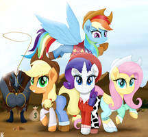 The Aventures Of The Cowgirl Mares by TheRETROart88