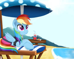 Rainbow Dash on the beach by TheRETROart88