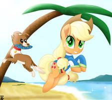 AppleJack in the beach by TheRETROart88