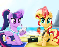 Twilight Sparkle and Sunset Shimmer in the beach by TheRETROart88