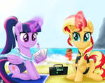 Twilight Sparkle and Sunset Shimmer in the beach