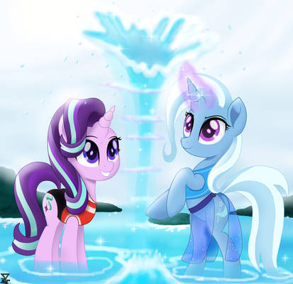 Starlight Glimmer and Trixie in the beach