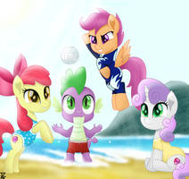 Cutiemark crusaders and Spike in the beach by TheRETROart88
